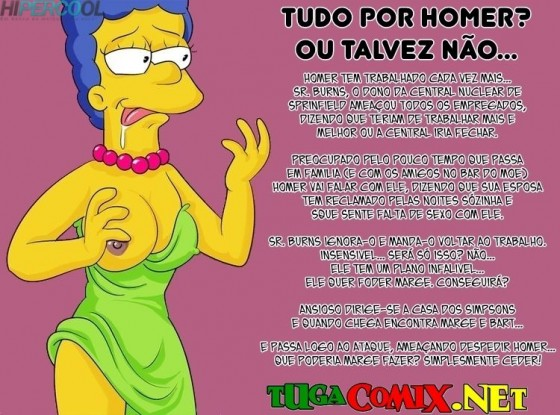 Marge Simpsons dando a buceta pro chefe do Homer - HQ