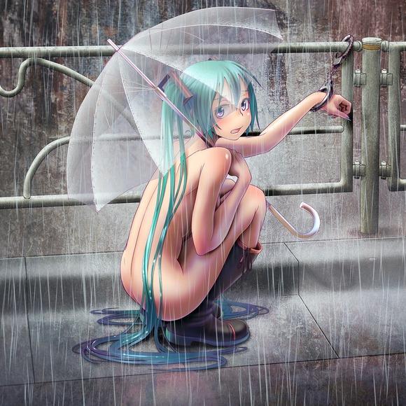 hentai menina nude na chuva com guarda-chuva